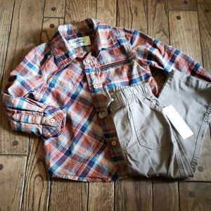 Bundle of pants and plaid button down